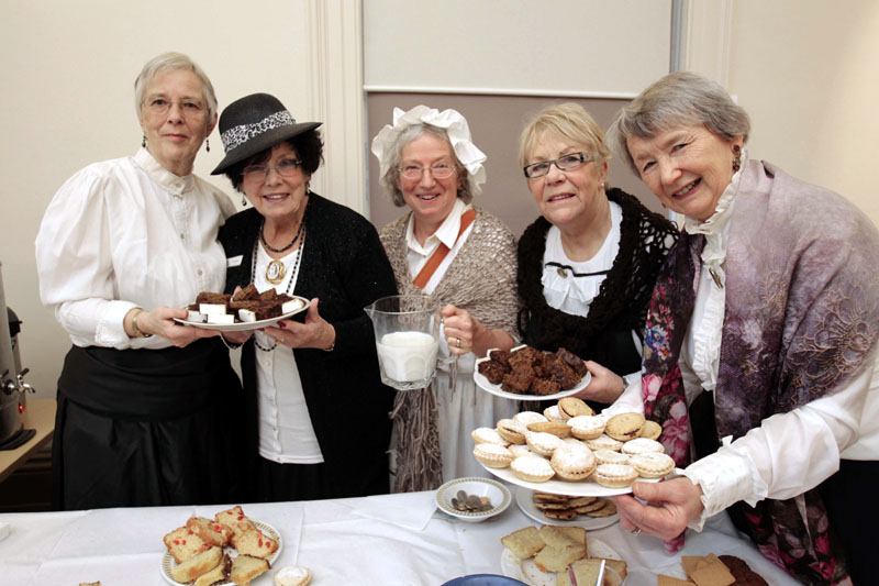Linda Hellawell, Jeannie Hand, Julia Mansell, Pam Waites, Ann Denham serving refreshments at our Victorian event.